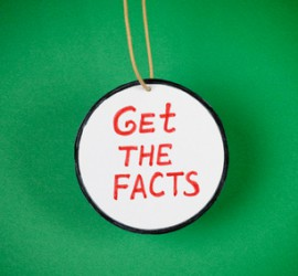 Get the facts. Green background. Vignette.